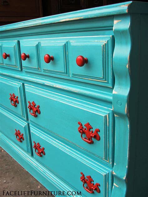 Turquoise Distressed Dresser by Distressed Turquoise Dresser With Paprika Pulls Facelift