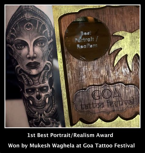 moksha tattoo designs best portrait realism award won by mukesh at goa