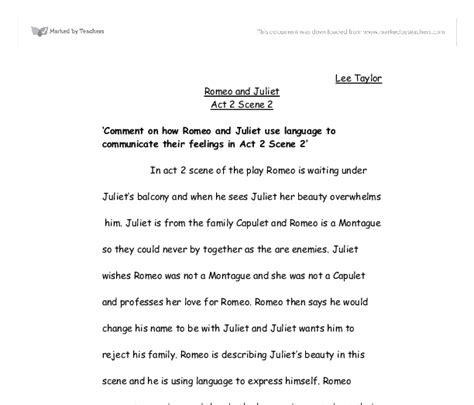 Romeo And Juliet 2 Act 2 Essay by Romeo And Juliet Act 2 2 Comment On How Romeo And