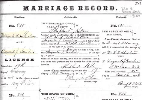 Ross County Ohio Marriage Records Raymond D Shasteen Genealogy William Henry Harrison Shasteen