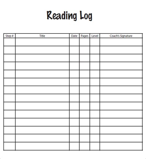 reading log template for middle school daily reading log template reading reading