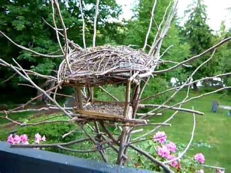 custom made bird feeder branches and twigs mounted on