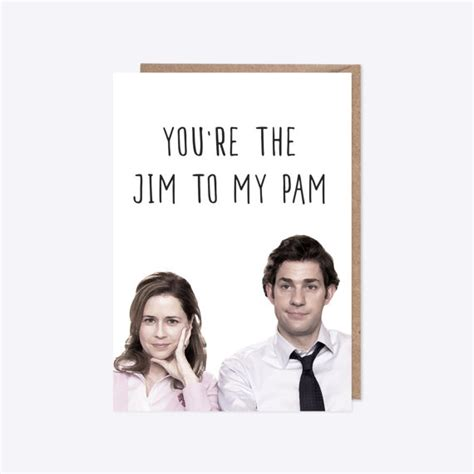 the office cards the office usa jim and pam greetings card by thevintagedeerco