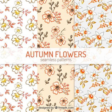watercolor flowers pattern vector free download watercolor patterns with autumnal flowers vector free