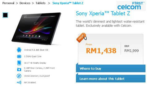 Sony Tablet S Di Malaysia sony xperia tablet z lte price in malaysia specs technave