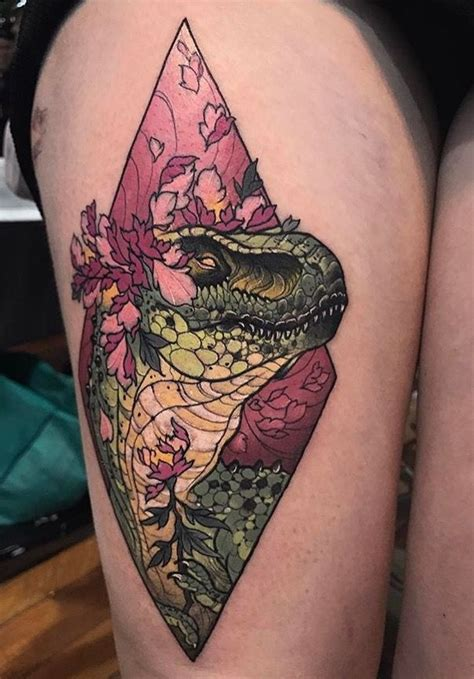 dinosaur tattoo dean kalcoff dinosaur neo traditional