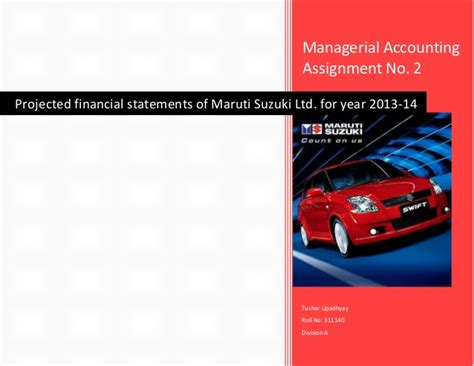 Suzuki Financial Services Ltd Managerial Accounting Assignment Projected Financial