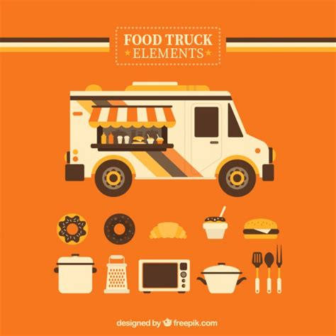 food truck design elements orange food truck elements vector free download