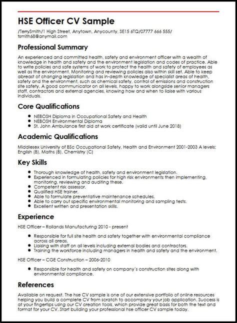 Safety Officer Skills Resume by Hse Officer Cv Sle Myperfectcv