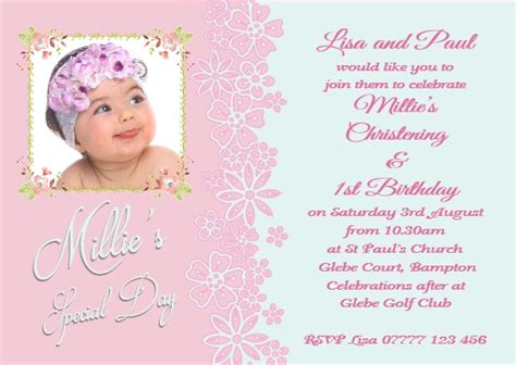 Joint Christening First Birthday Jo 22g The Invite Factory 1st Birthday And Christening Invitation Templates