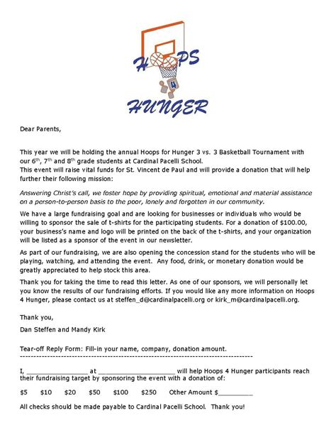 Sponsorship Letter For Need Sponsors 3 On 3 Basketball Tournament Cardinal Pacelli