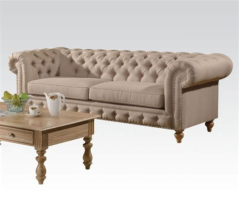 Shantoria Collection Tufted Beige Linen Finish Sofa Beige Tufted Sofa