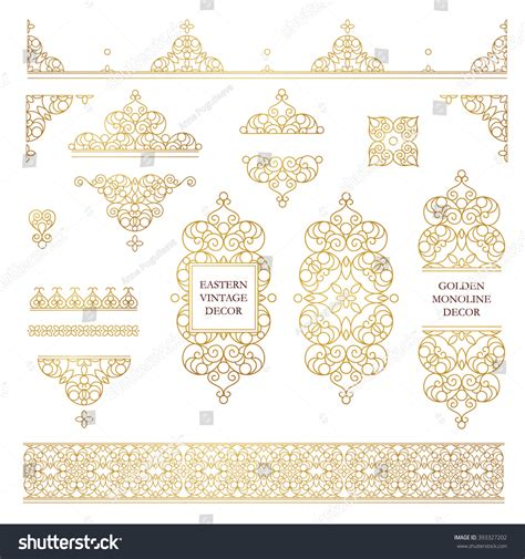 set of arabesque pattern frame border vector set line art frames borders stock vector 393327202