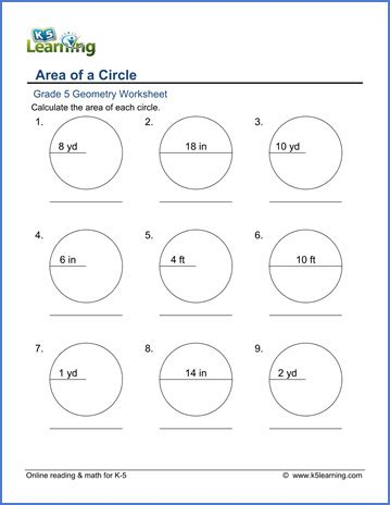 printable area of a circle worksheets grade 5 math worksheet geometry area of circles k5