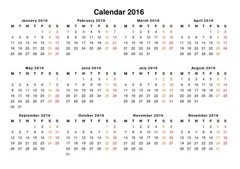 Calendar 2016 Only Printable Yearly | calendar 2016 only printable yearly pictures to pin on