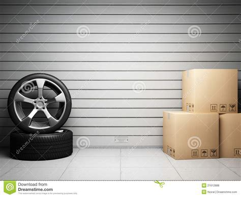 Garage With Car Spare Parts Stock Illustration   Image