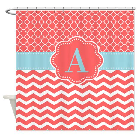 coral chevron shower curtain coral blue chevron monogram shower curtain by