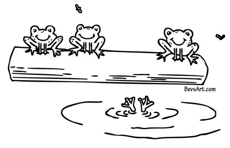 coloring page frog on a log black and white frog cliparts co