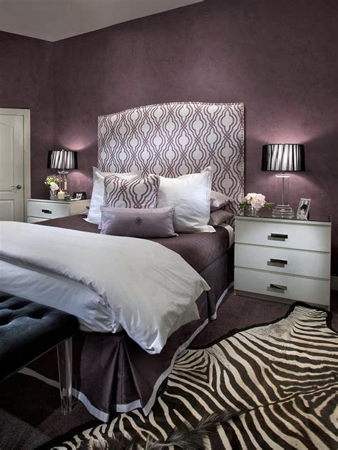 eggplant and grey bedroom contemporary purple bedroom with zebra print rug hgtv