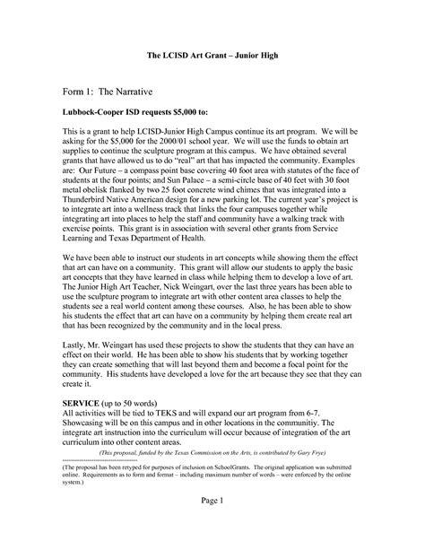 grant template for nonprofit grant