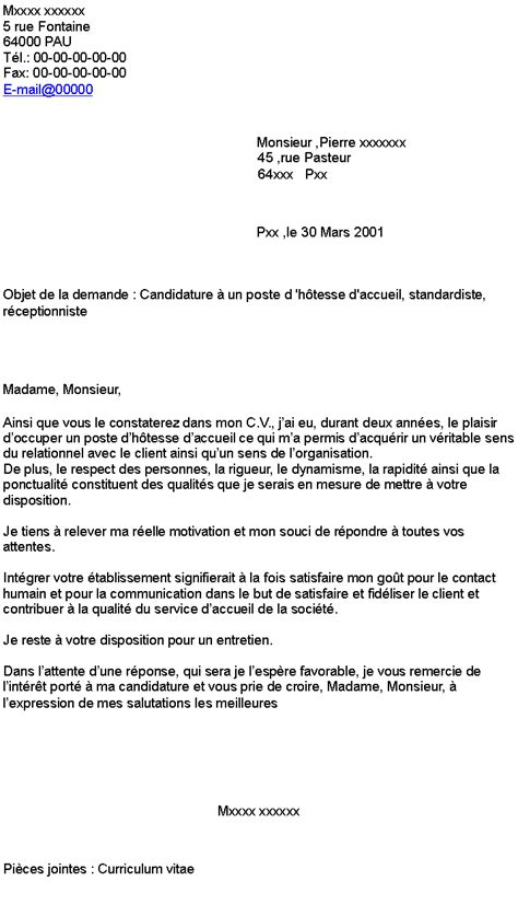 Lettre De Motivation Stage Hotesse D Accueil Doc Lettre De Motivation Hotesse D Accueil Standardiste