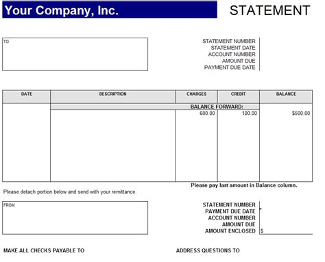 Statement Of Account Template Free account statement format template sle