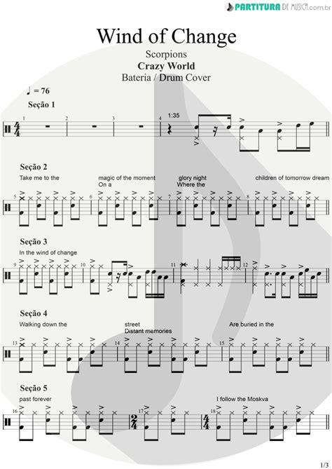 Partitura de musica - Bateria | Wind Of Change | Scorpions