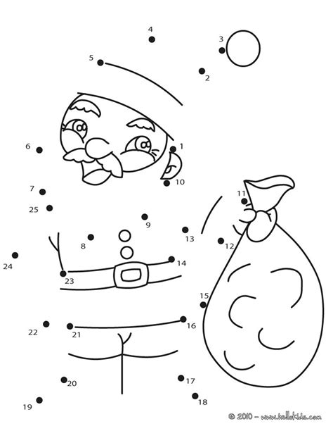printable dot to dot holiday santa claus sack coloring pages hellokids com