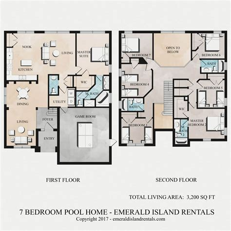 disney floor plans emerald island 7 bed villa floor plan