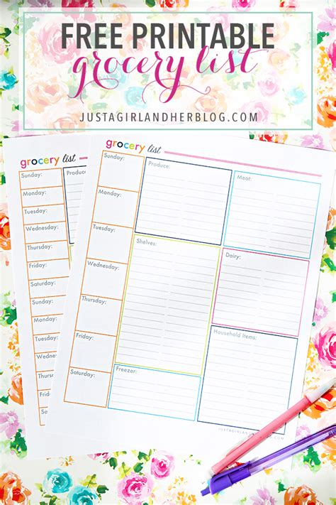 cute printable grocery list template an organized grocery list and free printables