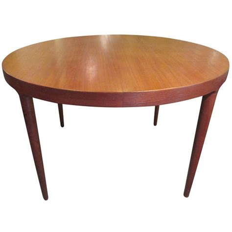 round expanding dining table rare danish modern teak round expandable top dining table