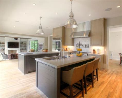 two kitchen islands two island kitchen houzz