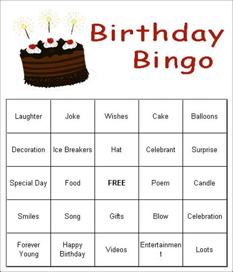 printable party games free free birthday party game ideas bingo