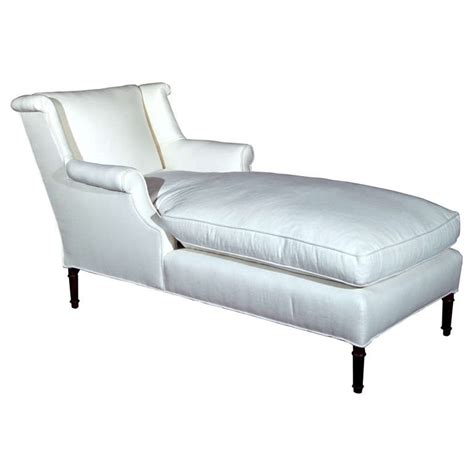 linen chaise lounger white linen reupholstered chaise lounge at 1stdibs