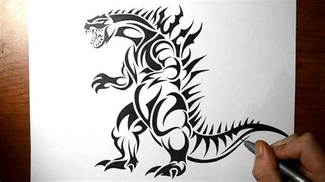 how to tattoo videos how to draw godzilla tribal design style