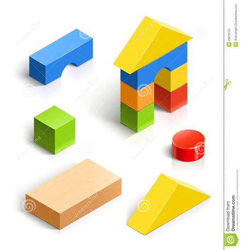 Brick House. Wooden Toy Set Stock Vector   Illustration of