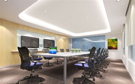 3D rendering conference room with white long table