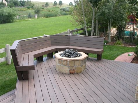 trex bench plans trex deck with benches amp fire pit halliday built decks