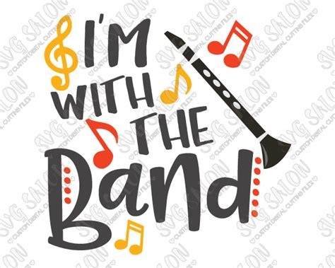 libro im with the band i m with the band clarinet svg cut file set for musician s shirts