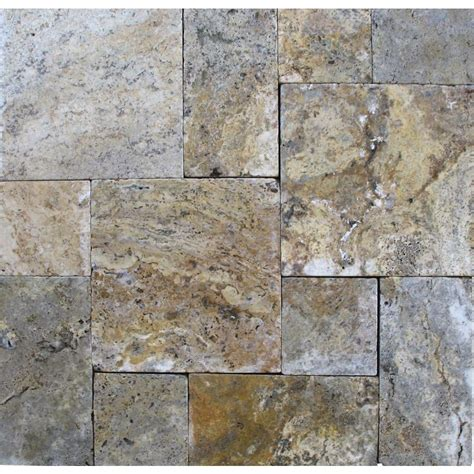 Travertine Patio Pavers Ms International Tuscany Scabas Pattern 16 Sq Ft Tumbled Travertine Paver Kit 10 Kits 160