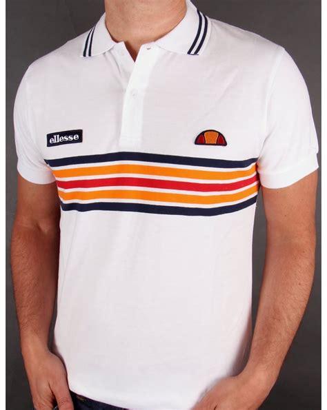 t shirt t shirt diadora ellesse elite striped polo shirt white heritage striped polo