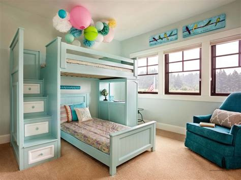 bunk bed staircase transitional girls room garrison