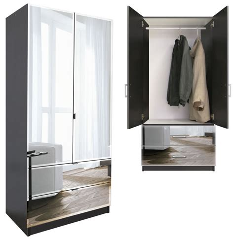 wardrobe armoire with mirror alta 2 drawer wardrobe armoire contempo space