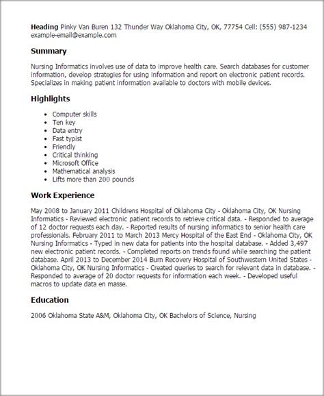 Clinical Informatics Description by Professional Nursing Informatics Templates To Showcase Your Talent Myperfectresume
