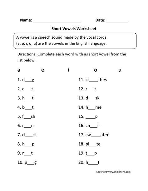 Vowel Worksheets Free