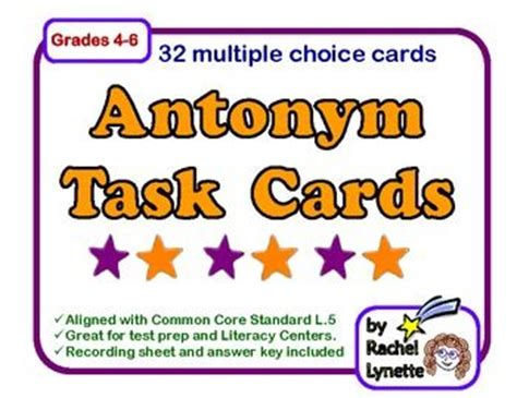 lynette task card template task cards 32 free cards for practicing antonyms grades