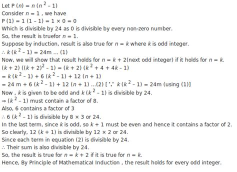 principle of mathematical induction solved problems solve n n2 1 is divisible by 24 where n is an integer meritnation