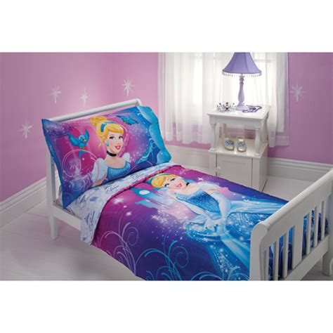 Disney Cinderella Magic Happens 4 Piece Toddler Bedding Cinderella Bedding Set