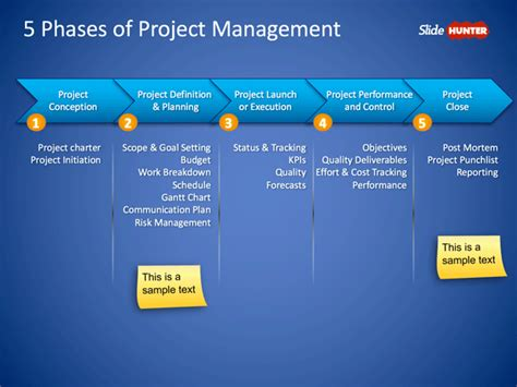 powerpoint project management template free 5 phases of project management powerpoint slide