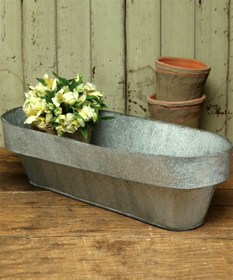 Galvanized Planters by Galvanized Oval Planter Transitional Indoor Pots And